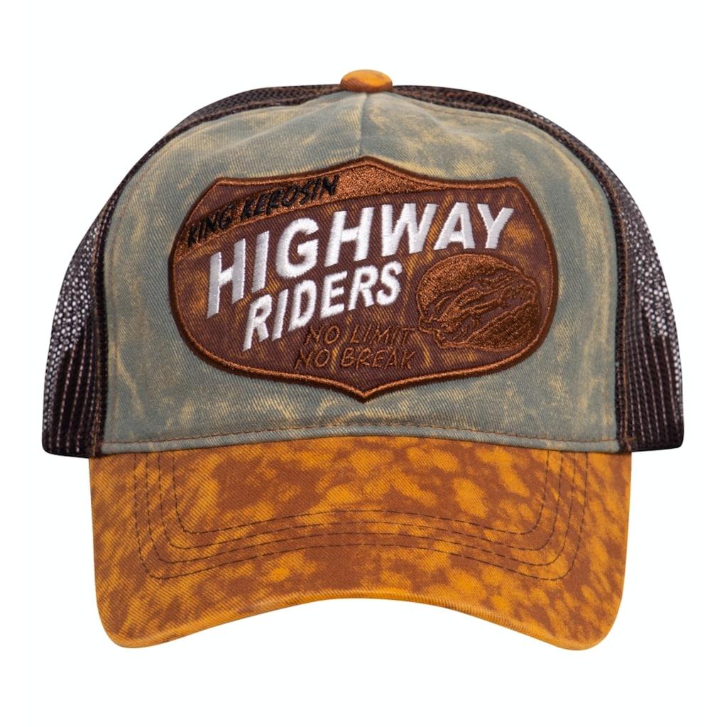 KingKerosin Trucker Cap »Highway Riders«, mit authentischem Enzymwash