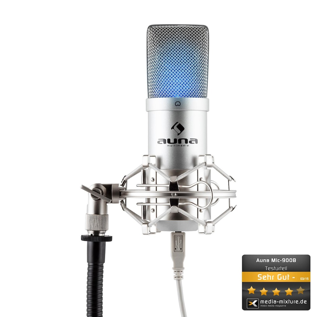 Auna USB Kondensator Mikrofon inkl. Mikrofonspinne Niere Studio »MIC 900 LED«