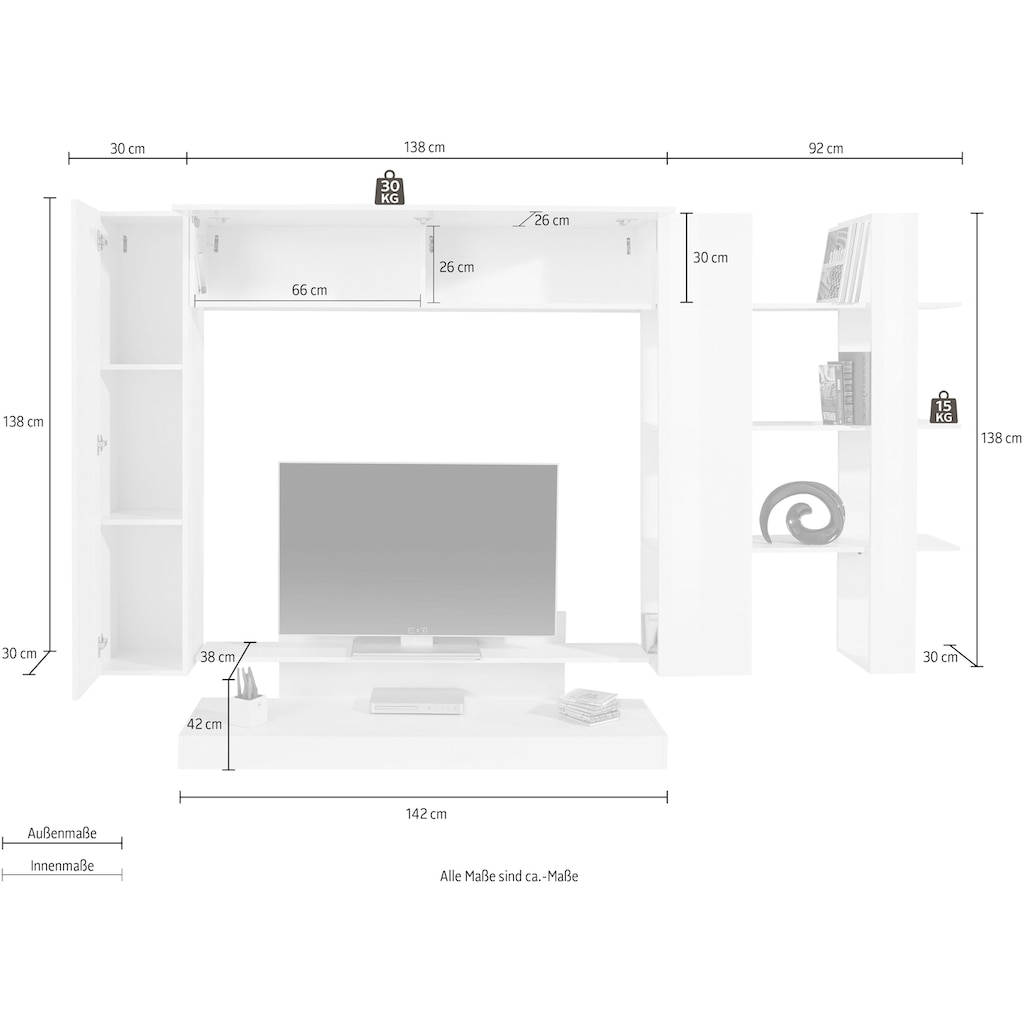 LC Wohnwand »Nice«, (Set, 4 St.)