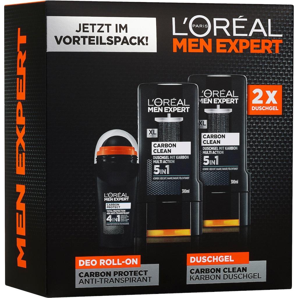 L'ORÉAL PARIS MEN EXPERT Gesichtreinigungs-Set »Carbon Protect & Clean Box«, (3 tlg.), Duschpflege & Deo Schutz in einer Box