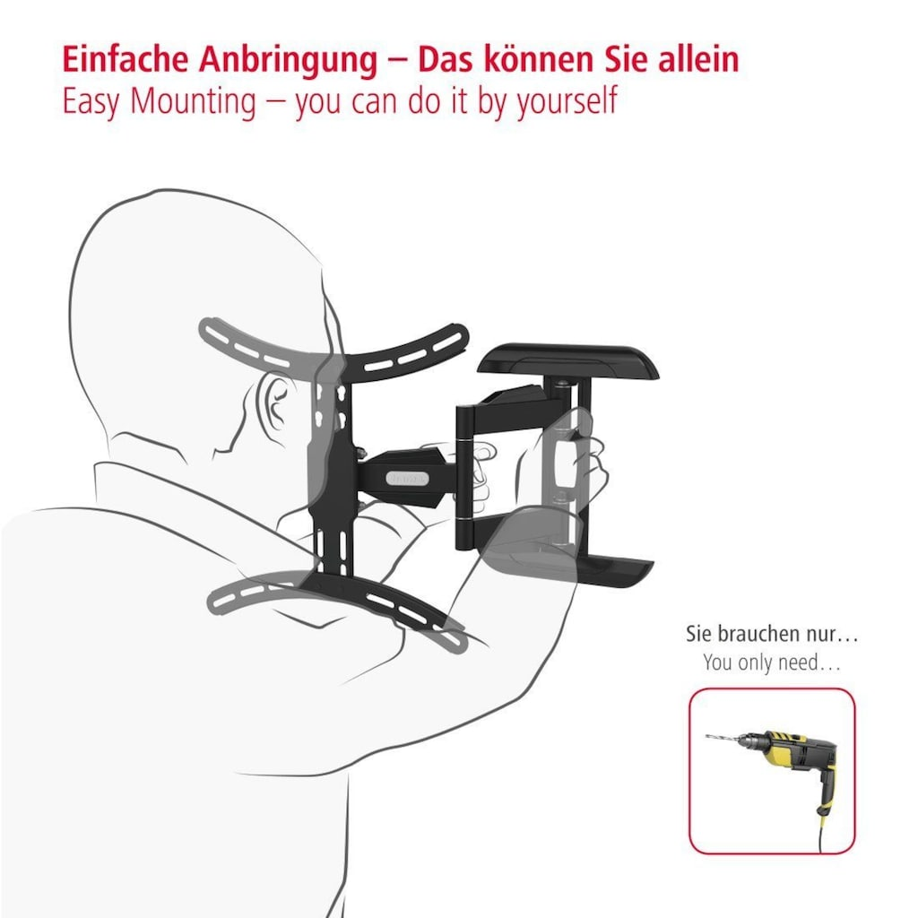 Hama TV Wandhalter schwenkbar bis 165cm/ 65 Zoll, 140cm/ 55 Zoll