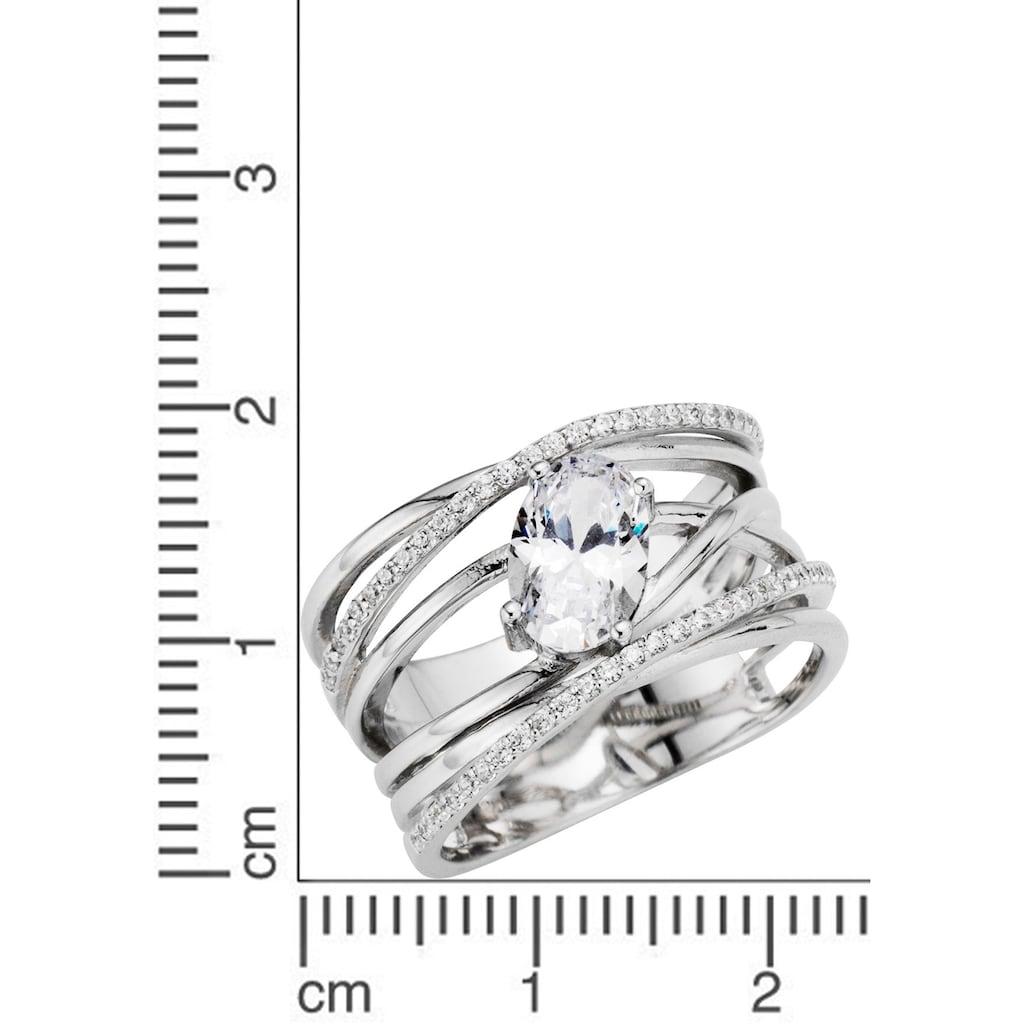 Firetti Silberring »Bänder, mehrreihig, verschlungen«, mit Zirkonia