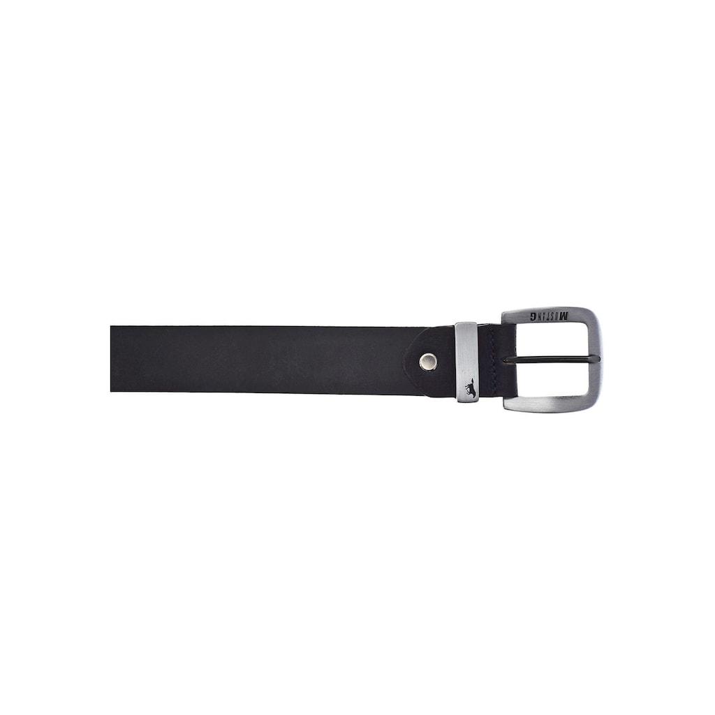 MUSTANG Ledergürtel, bis 130 cm, mit charakteristischer Markenprägung