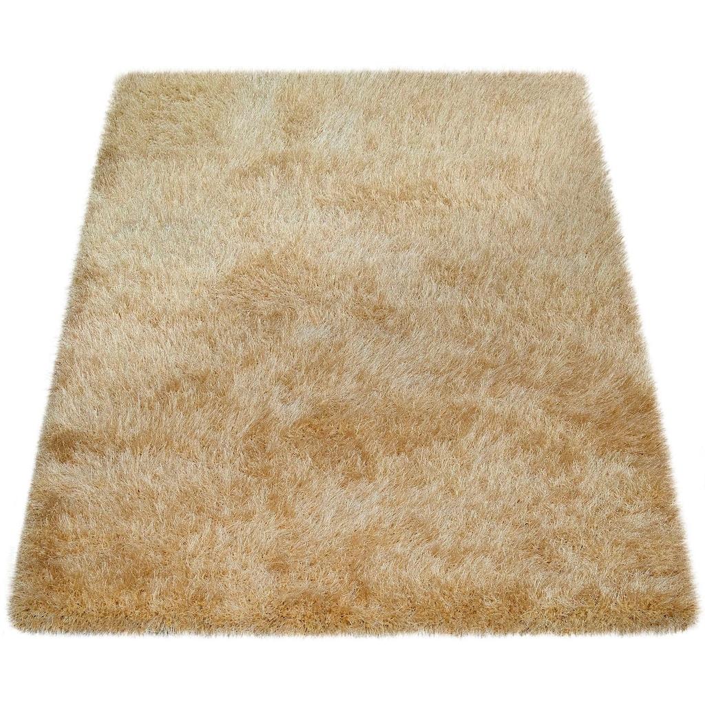 Paco Home Hochflor-Teppich »Glamour 300«, rechteckig, 70 mm Höhe, Shaggy mit weichem Glanz Garn in Uni, Kundenliebling mit 4,5 Sterne-Bewertung!, Wohnzimmer