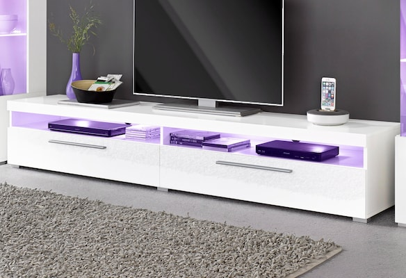 weißes TV-Board mit LED-Beleuchtung
