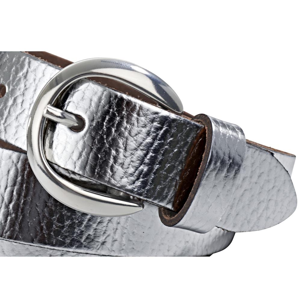 heine Ledergürtel, im Metallic-Look