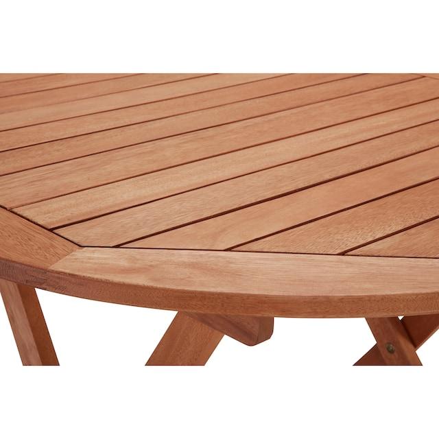 MERXX Gartentisch »Borkum«, Eukalyptusholz, klappbar, Ø 100 cm, braun