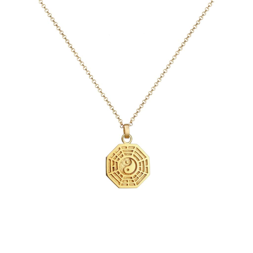 Elli Kette mit Anhänger »Bagua Symbol Münze Vintage 925 Silber vergoldet«