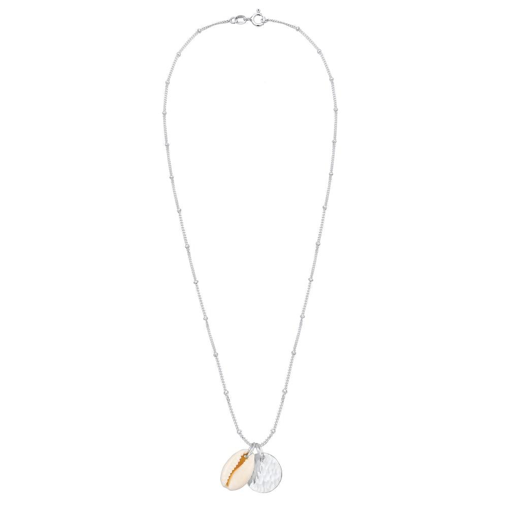 Elli Kette mit Anhänger »Kauri Muschel und Plättchen Kugelkette 925 Silber«