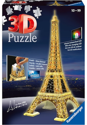 Ravensburger 3D-Puzzle »Eiffelturm bei Nacht«, mit Leuchtmodul inkl. LEDs; Made in... kaufen