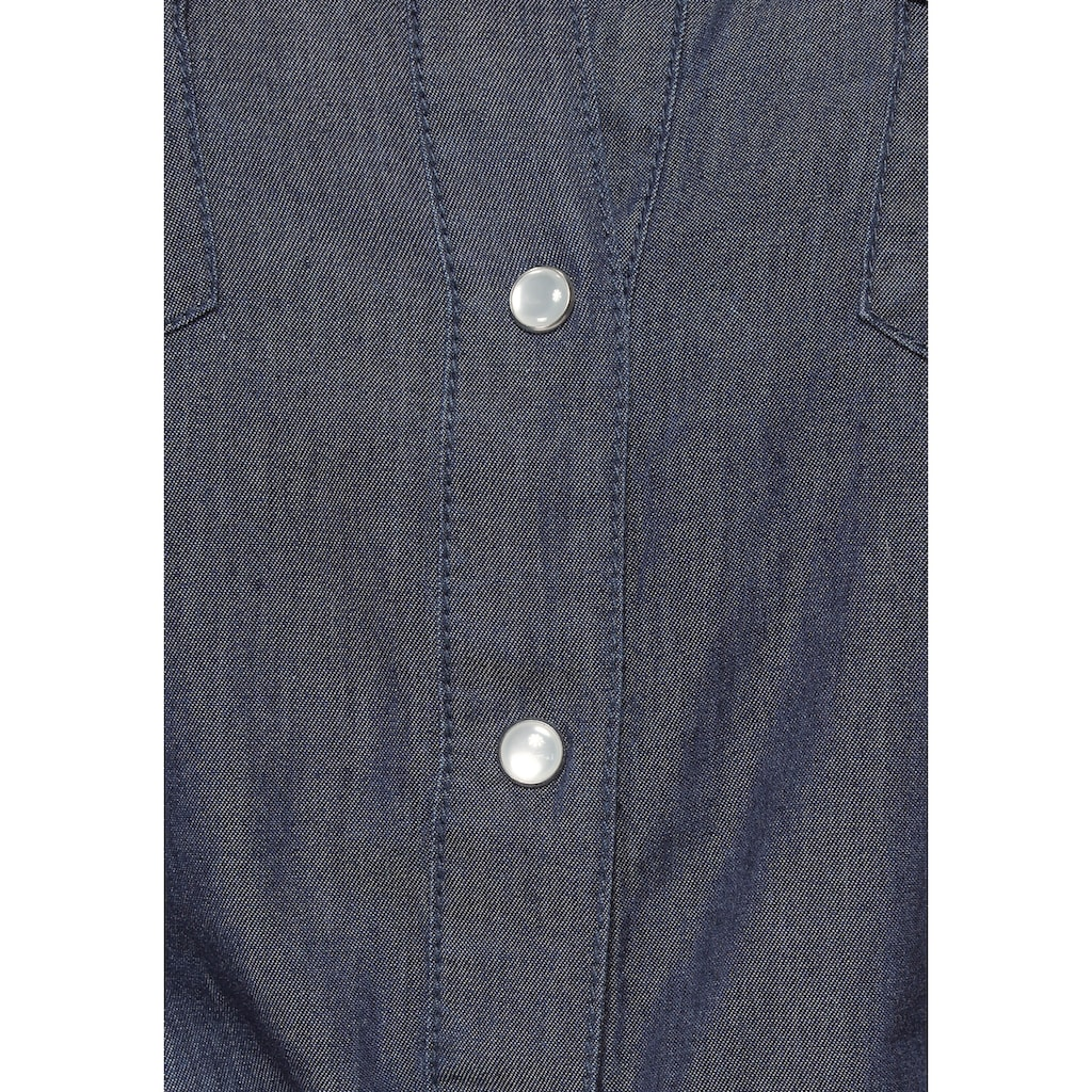 Arizona Jeansbluse »vorn zu knoten«, und Krempelärmel
