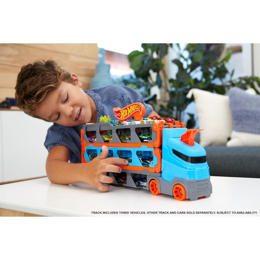 Hot Wheels Spielzeug-Transporter »2-in-1 Rennbahn-Transporter«, mit drei Hot Wheels Fahrzeugen