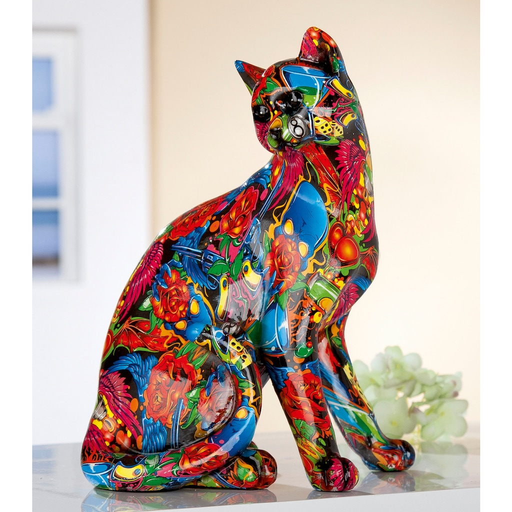 GILDE Dekofigur »Figur Pop Art Katze«, Dekoobjekt, Tierfigur, Höhe 29 cm, Wohnzimmer