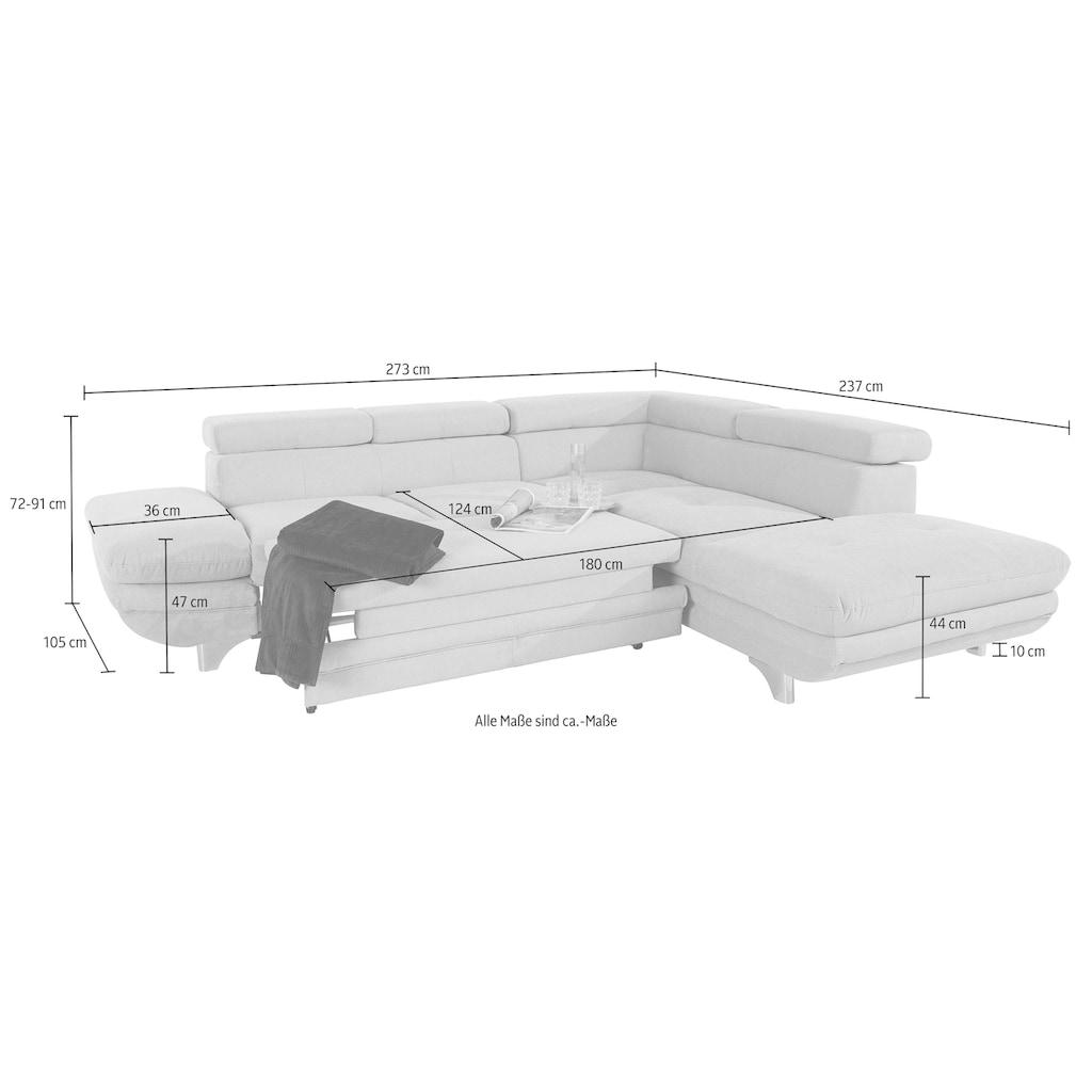 COTTA Polstergarnitur, (Set), Set: bestehend aus Ecksofa und Hocker, Ecksofa inklusive Kopf- und Armteilverstellung, wahlweise mit Bettfunktion