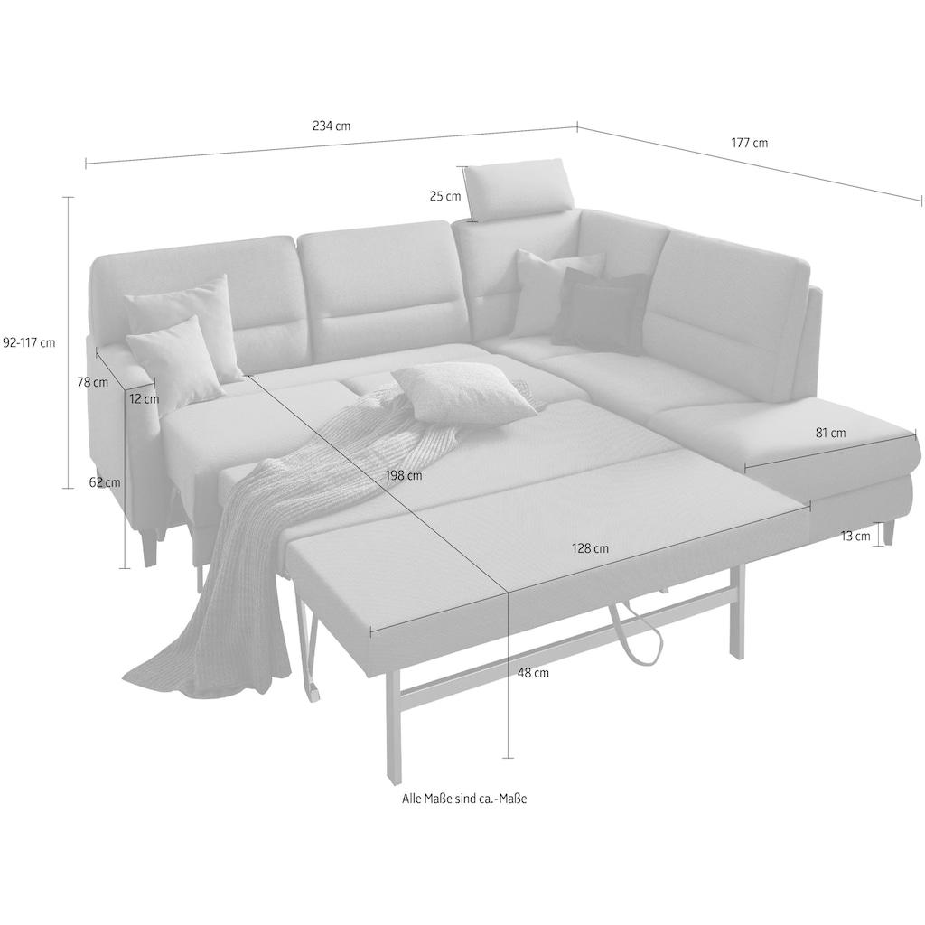 ADA premium Ecksofa »Messina small«, Wahlweise mit Bett-/Vorzieh- und Stauraumfunktion in zwei Tiefen