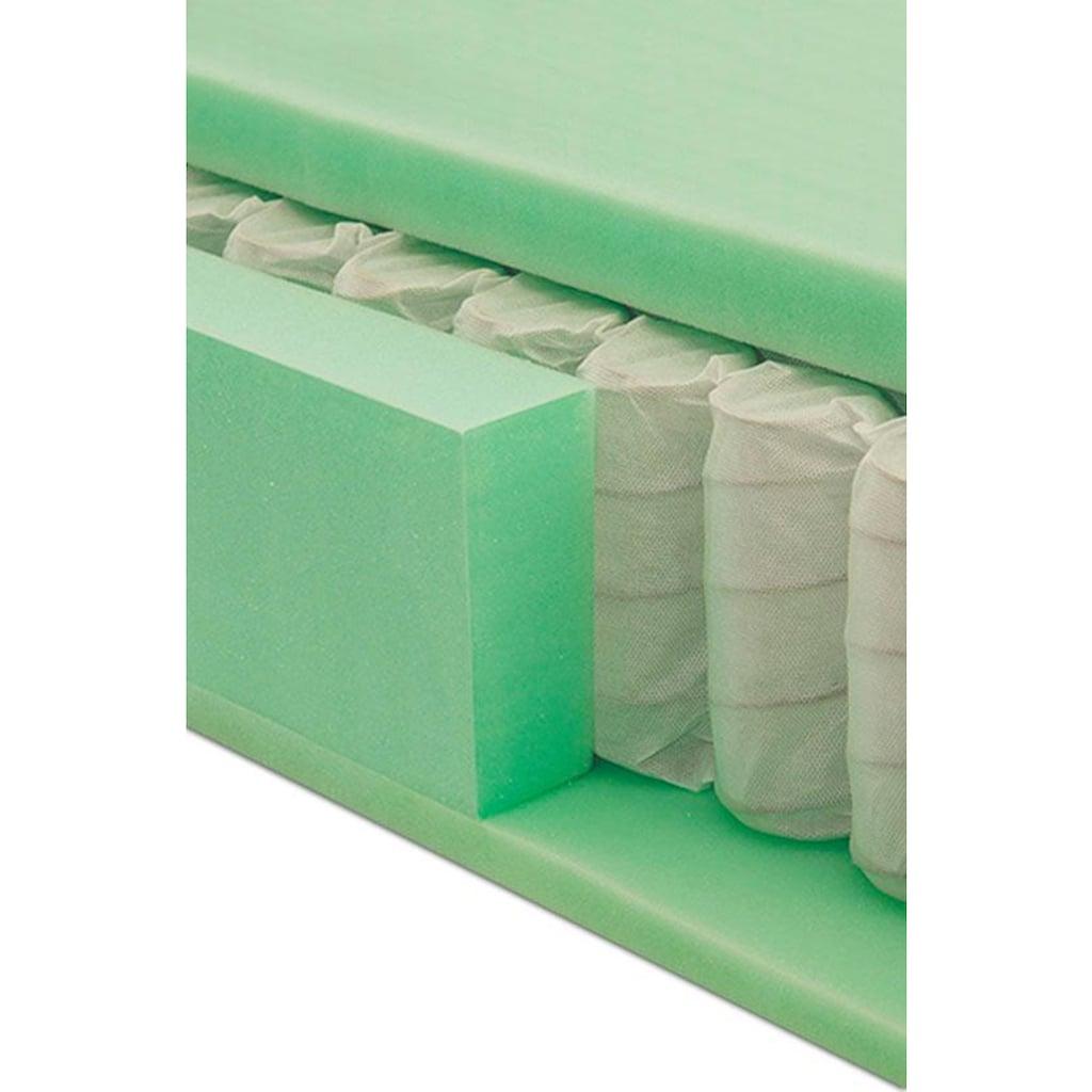grüne betten Boxspringbett »Ella«, mit Tonnentaschenfederkern-Matratze, Topper und Zierkissen, 100% vegan