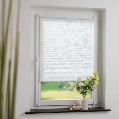 weißes Plissee mit Blumen