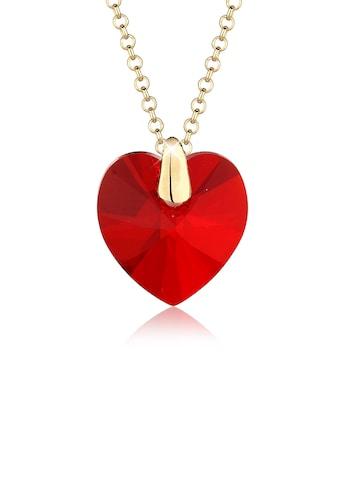 Elli Collierkettchen »rotes Herz Kristall 925 Silber vergoldet« kaufen