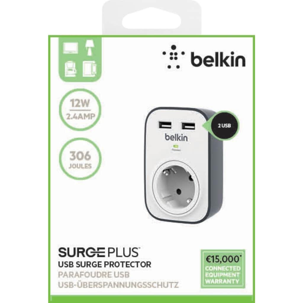 Belkin Smarte Dreifach-Steckdosenleiste »Surge Plus Überspannungsschutz, 1-Fach mit 2x USB«, Stecker/Verbinder