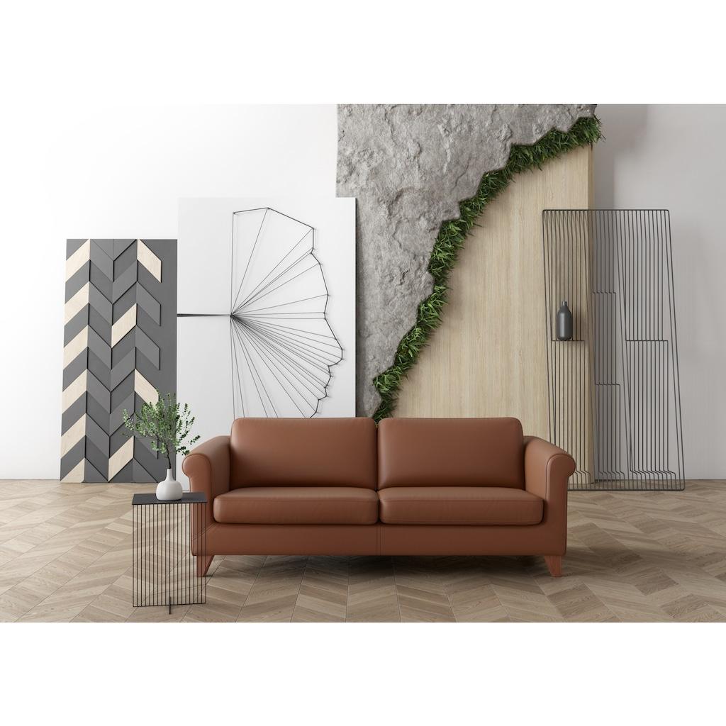 machalke® 3-Sitzer »amadeo«, Ledersofa mit geschwungenen Armlehnen, Breite 213 cm
