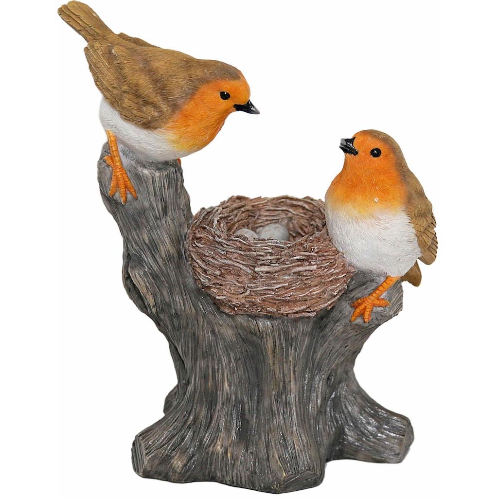 Casa Collection by Jänig Tierfigur »Rotkehlchen mit Nest auf einem Stamm sitzend, Höhe: 26cm«
