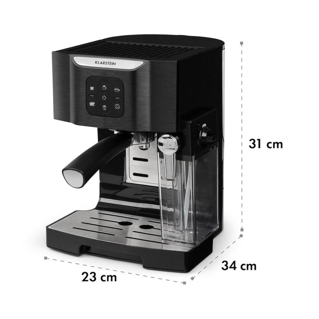 Klarstein Kaffeemaschine 1450 W 20 Bar Milchschäumer 3in1 schwarz