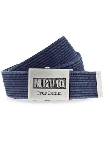 MUSTANG Stoffgürtel, Mit Koppelschließe im Used Look kaufen