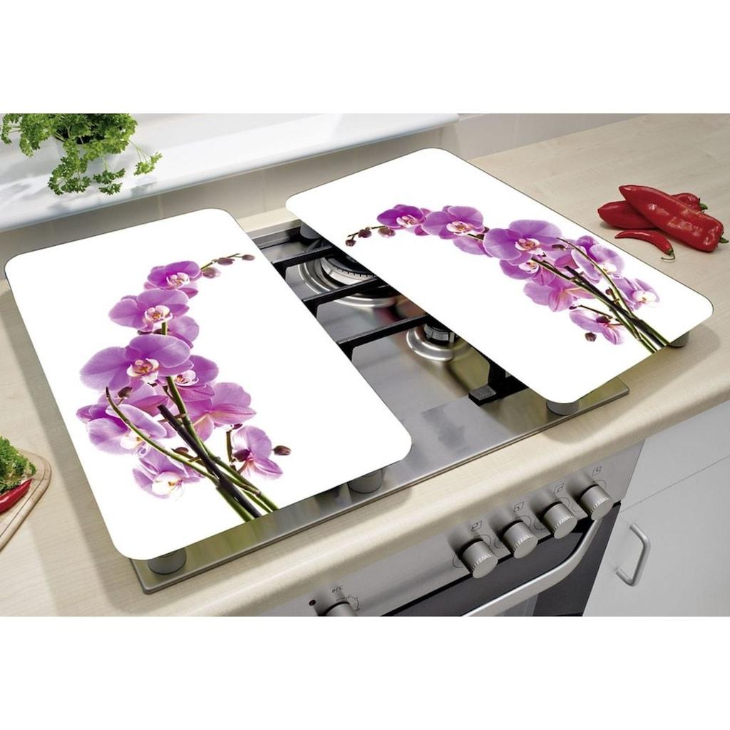 WENKO Herd-Abdeckplatte »Orchideenblüte«, (Set, 2 tlg.), kratzfest