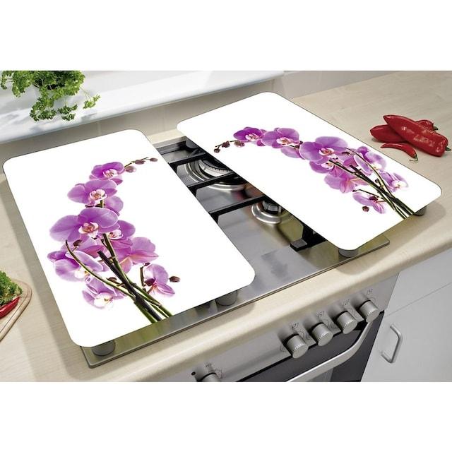 "WENKO Herd-Abdeckplatte ""Orchideenblüte"", Glas, (Set, 2-tlg.)"