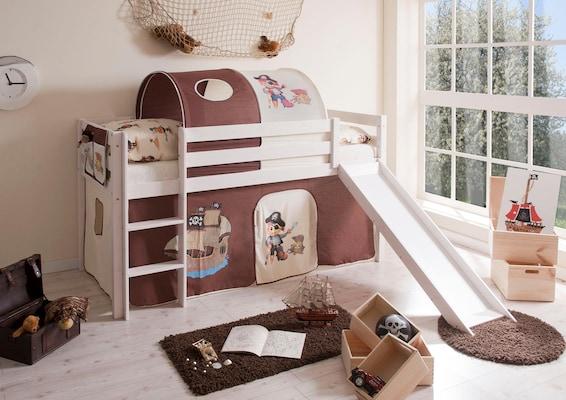 Spielbett mit Rutsche, Piratentunnel und Vorhang
