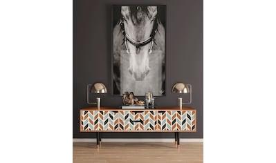 Places of Style Lowboard »Beige Laure«, mit dekorativen Print auf den Türen kaufen