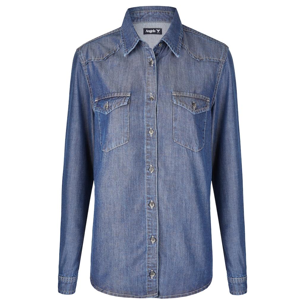 ANGELS Hemd,Casual Shirt' in Jeansoptik