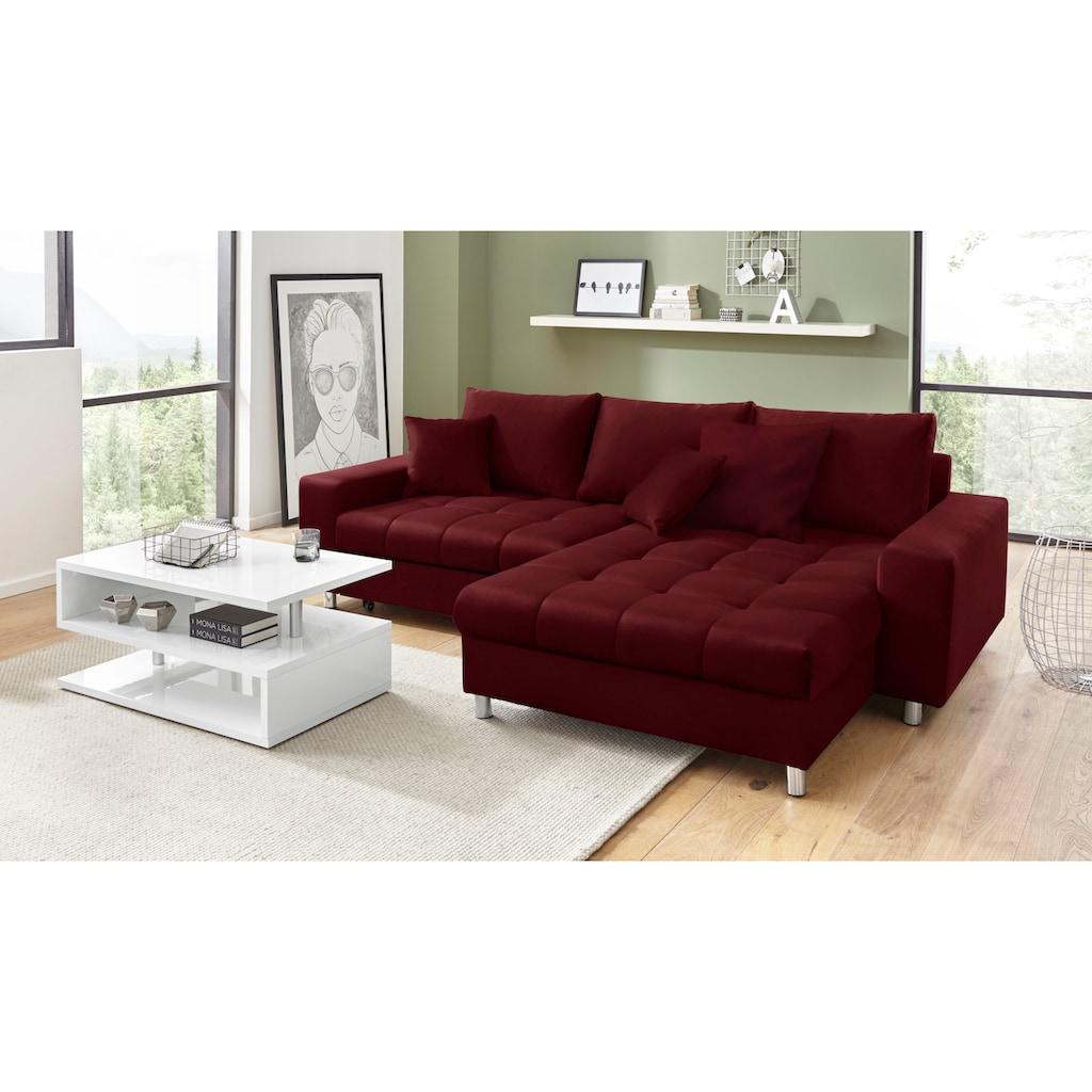 Nova Via Ecksofa »Tobi 4«, wahlweise mit Kaltschaum (140kg Belastung/Sitz), RGB-LED-Beleuchtung und Bettfunktion