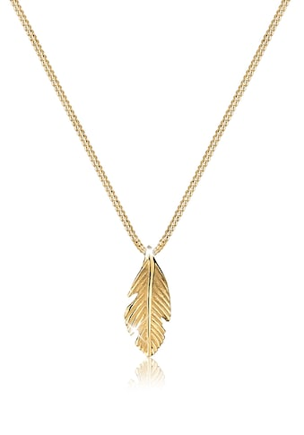 Elli Collierkettchen »Feder Boho Look Luxuriös 585 Gelbgold« kaufen