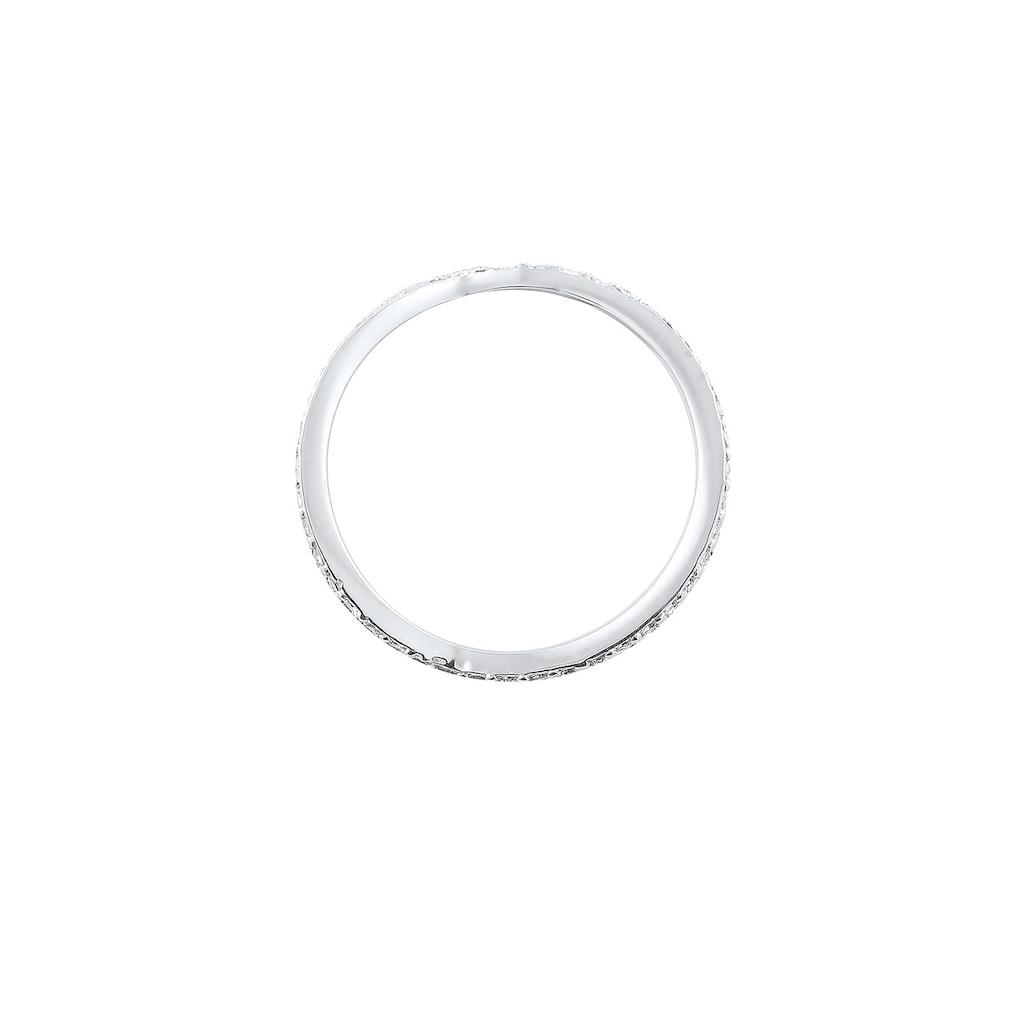 Elli Fingerring »Verschlungen Kristalle 925 Silber«