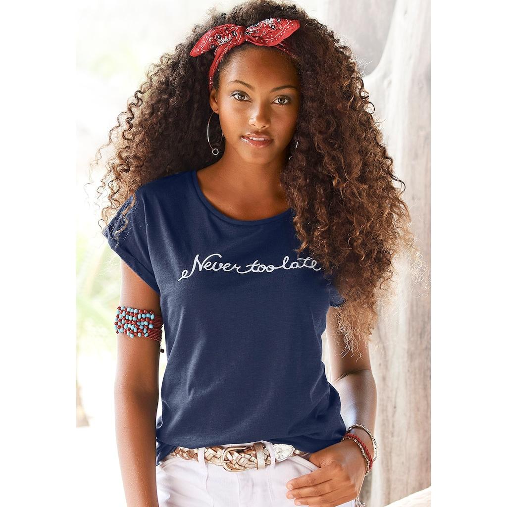 """Beachtime T-Shirt, mit modischem Sprüche Frontdruck """"Never too late"""""""