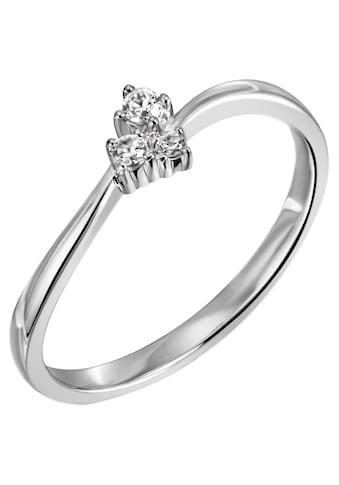Firetti Diamantring »ca. 2,0 mm breit, Glanzoptik, rhodiniert, massiv«, mit Brillanten kaufen