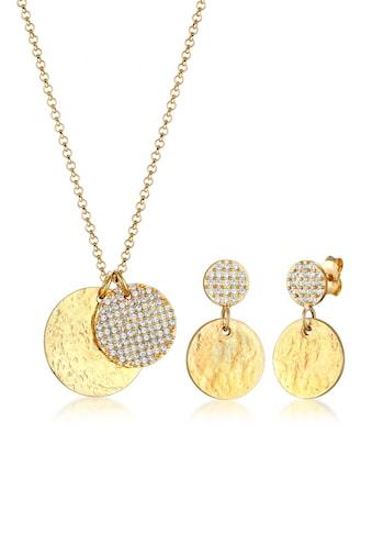 Elli Schmuckset »Ohrhänger Plättchen Kristalle 925 Silber« kaufen