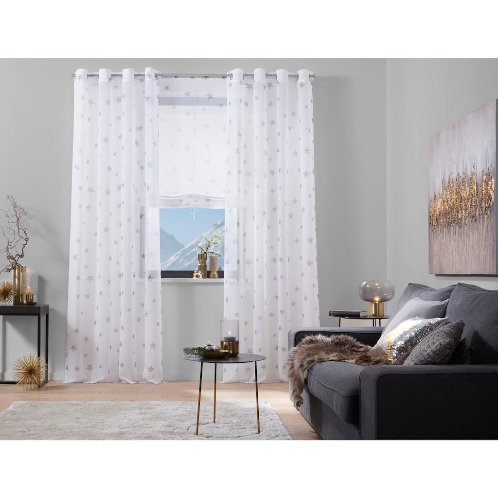 my home Raffrollo »Stern«, mit Stangendurchzug