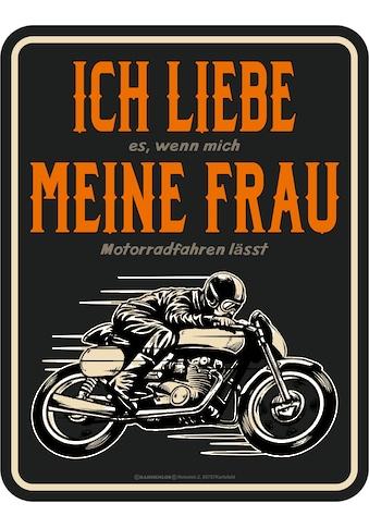 Rahmenlos Blechschild mit lustigem Motorrad-Print kaufen