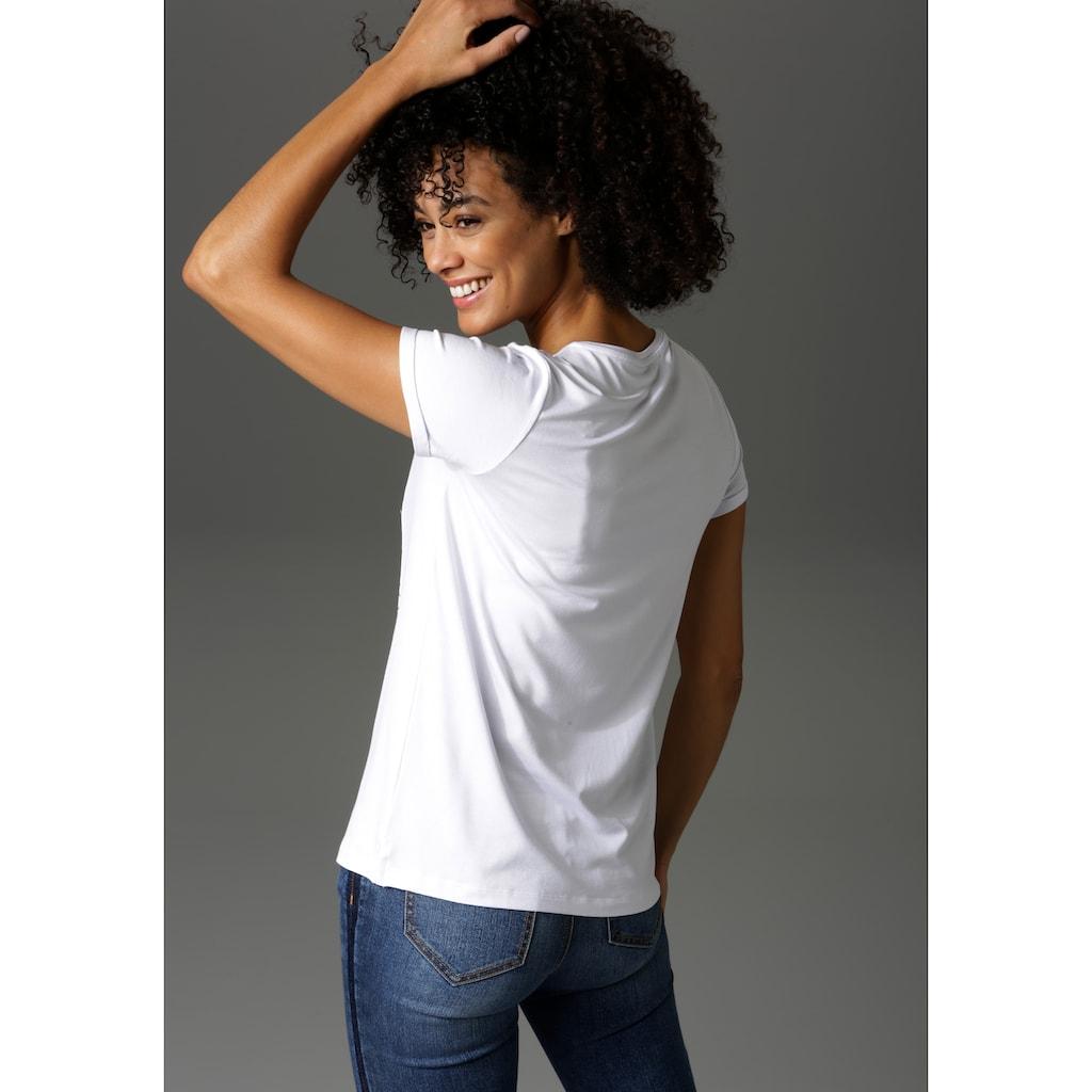 """Aniston CASUAL T-Shirt, """"inspirierende"""" Applikation mit Glitzersteinchen"""