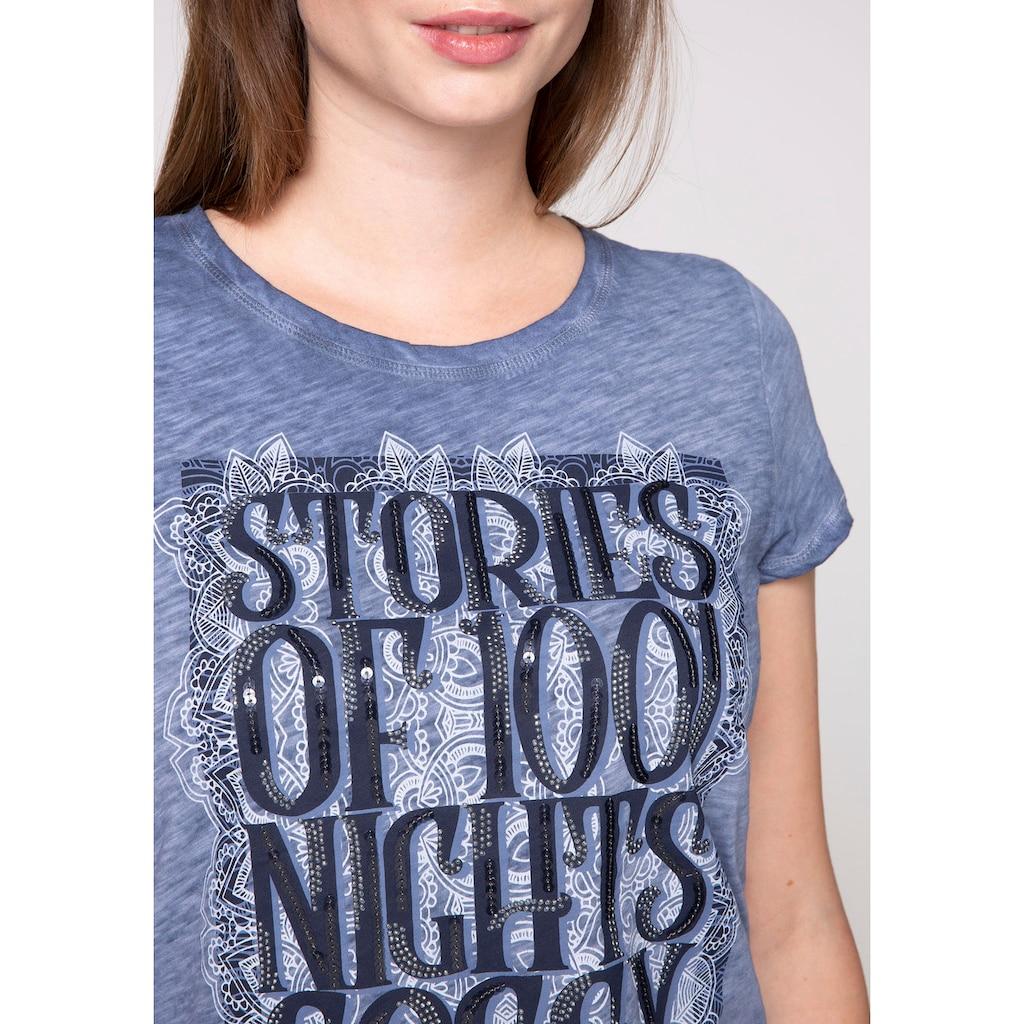 SOCCX T-Shirt, mit großem Print und Pailletten