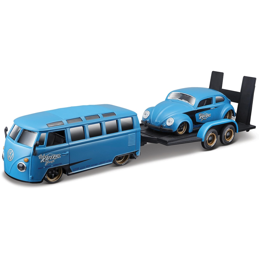 Maisto® Sammlerauto »Elite Transporter VW Van Samba«, 1:24, inklusive Anhänger mit Beetle