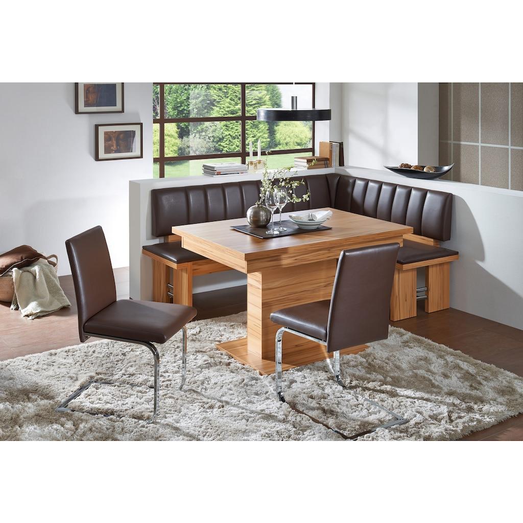 SCHÖSSWENDER Eckbankgruppe »Falco«, (Set, 4 tlg.), Eckbank umstellbar, Säulentisch mit Schiebeplattenfunktion 120(160) cm