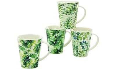 CreaTable Becher »Tropical«, (Set, 4 tlg.), tropische Blattmotive, 4-teilig kaufen