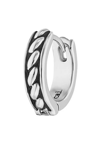CAÏ Single-Creole »925/-Sterling Silber rhodiniert Farbe schwarz«, mit Seilstruktur kaufen