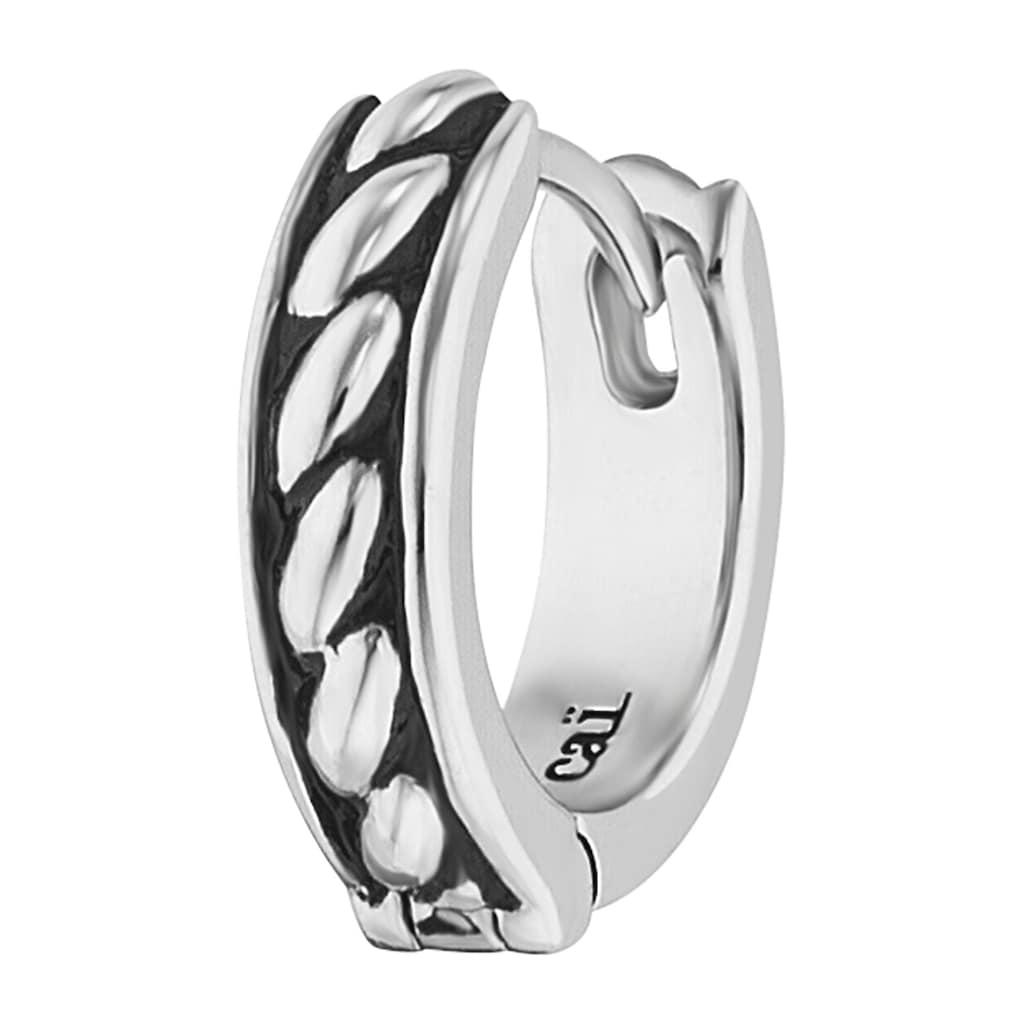 CAÏ Single-Creole »925/-Sterling Silber rhodiniert Farbe schwarz«, mit Seilstruktur