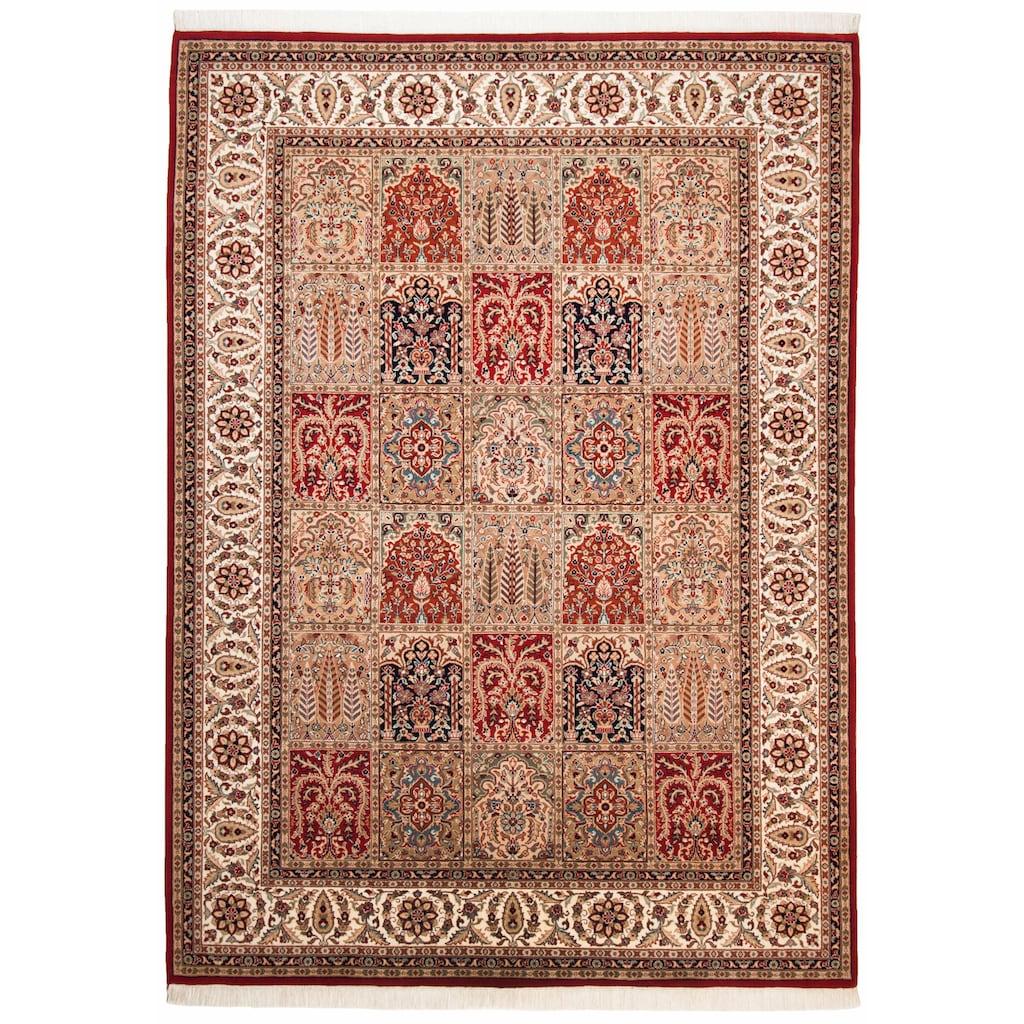 THEKO Orientteppich »Baktyari N«, rechteckig, 12 mm Höhe, Flor aus 30% Seide, handgeknüpft, mit Fransen, Wohnzimmer