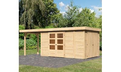 WOODFEELING Set: Gartenhaus »Retola 6«, BxT: 646x262 cm, mit Anbauschrank und Anbaudach kaufen