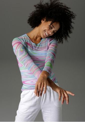 Aniston CASUAL Langarmshirt, mit trendigem Batik-Druck - NEUE KOLLEKTION kaufen